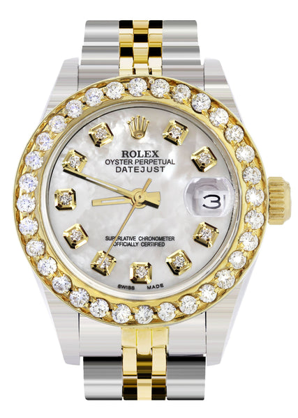 Womens Diamond Gold Rolex Watch | 1 Carat Bezel | 26Mm | Mother of Pearl Dial | Jubilee Band