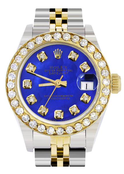 Womens Diamond Gold Rolex Watch | 1 Carat Bezel | 26Mm | Royal Blue Pearl Dial | Jubilee Band
