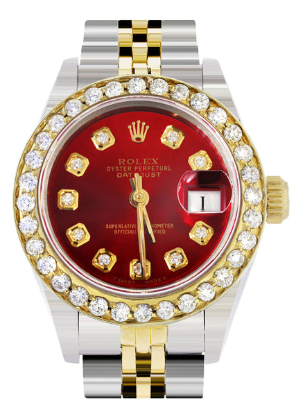 Womens Diamond Gold Rolex Watch | 1 Carat Bezel | 26Mm | Red Pearl Dial | Jubilee Band
