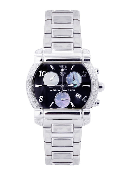 Mens White Gold Tone Diamond Watch | Appx. 0.65 Carats