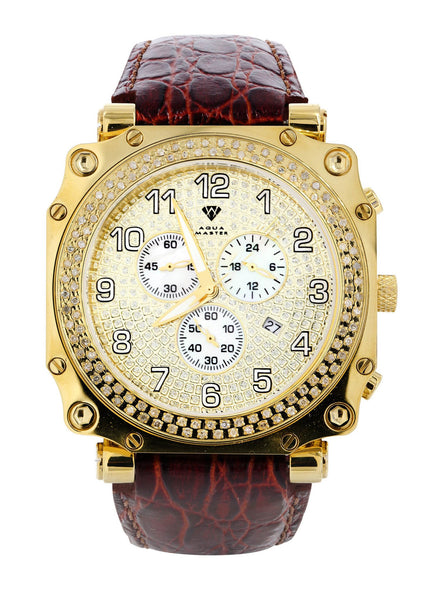 Mens Yellow Gold Tone Diamond Watch | Appx. 1.25 Carats