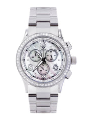 Mens White Gold Tone Diamond Watch | Appx. 2 Carats MENS GOLD WATCH FROST NYC