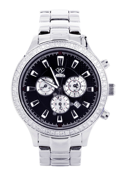 Mens White Gold Tone Diamond Watch | Appx. 2.45 Carats