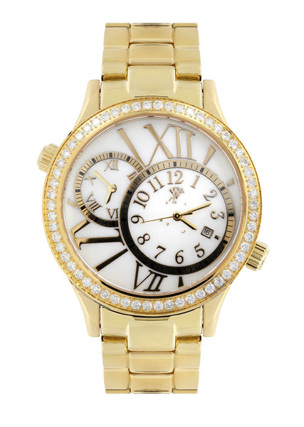 Mens Yellow Gold Tone Diamond Watch | Appx. 2.46 Carats