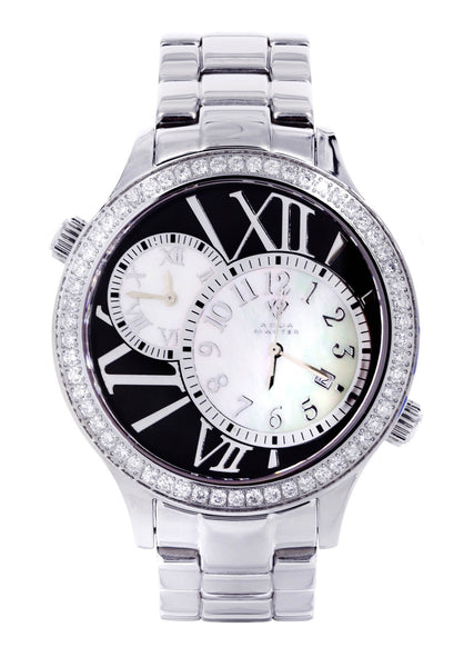 Mens White Gold Tone Diamond Watch | Appx. 2.47 Carats