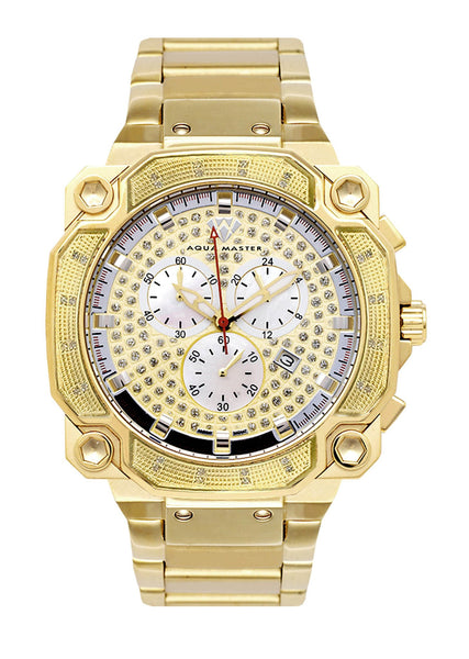 Mens Yellow Gold Tone Diamond Watch | Appx. 0.32 Carats