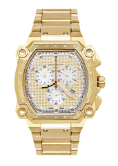 Mens Yellow Gold Tone Diamond Watch | Appx. 0.21 Carats