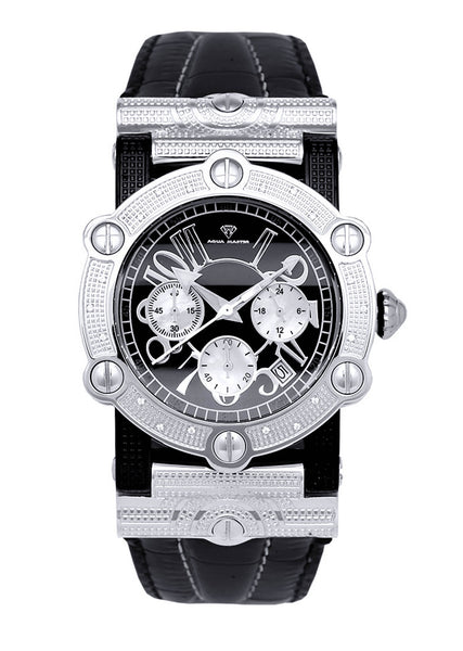 Mens White Gold Tone Diamond Watch | Appx. 0.19 Carats