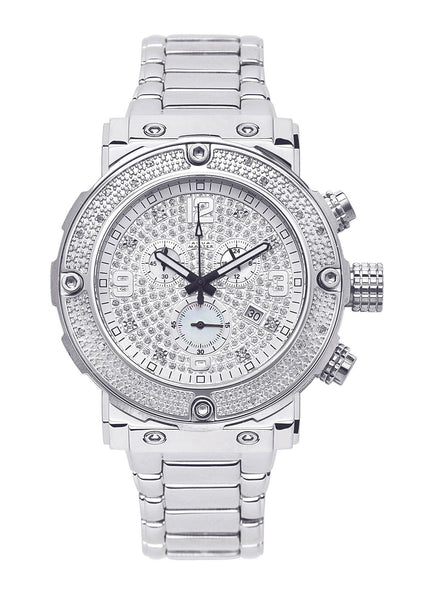 Mens White Gold Tone Diamond Watch | Appx. 0.22 Carats