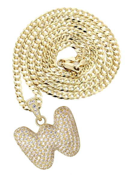 "10K Yellow Gold Cuban Chain & Bubble Letter ""W"" Cz Pendant 