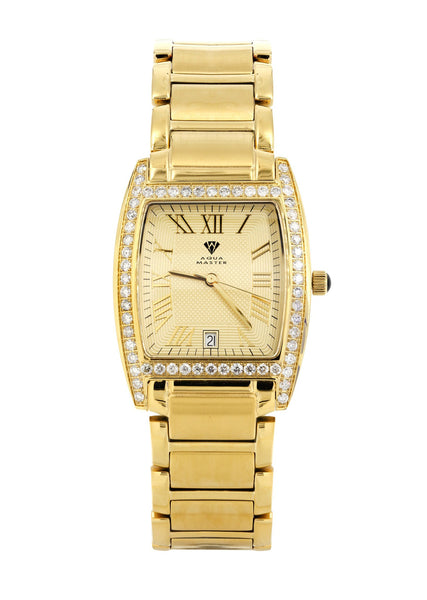 Mens Yellow Gold Tone Diamond Watch | Appx. 2.1 Carats