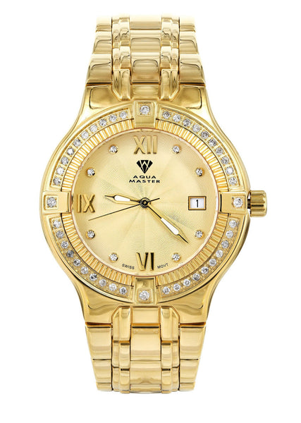 Mens Yellow Gold Tone Diamond Watch | Appx. 1.04 Carats