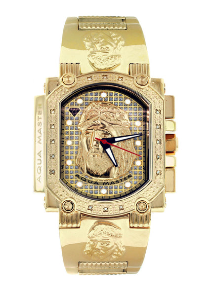Mens Yellow Gold Tone Diamond Watch | Appx. 0.17 Carats