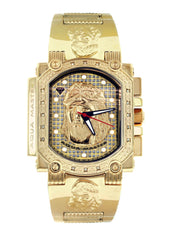 Mens Yellow Gold Tone Diamond Watch | Appx. 0.17 Carats MENS GOLD WATCH FROST NYC