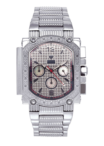 Mens White Gold Tone Diamond Watch | Appx. 0.16 Carats