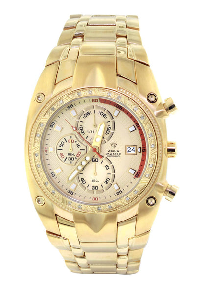 Mens Yellow Gold Tone Diamond Watch | Appx. 0.255 Carats