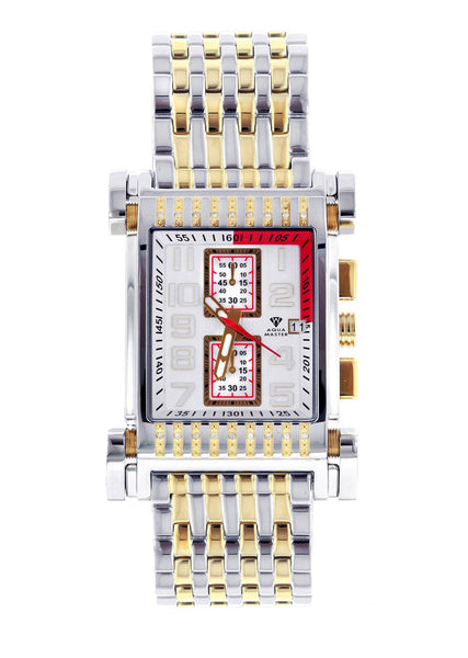 Mens Yellow Gold  Tone Diamond Watch | Appx. 0.195 Carats