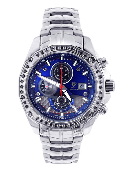 Mens White Gold Tone Diamond Watch | Appx. 1.53 Carats