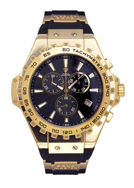 Mens Yellow Gold Tone Diamond Watch | Appx. 0.26 Carats