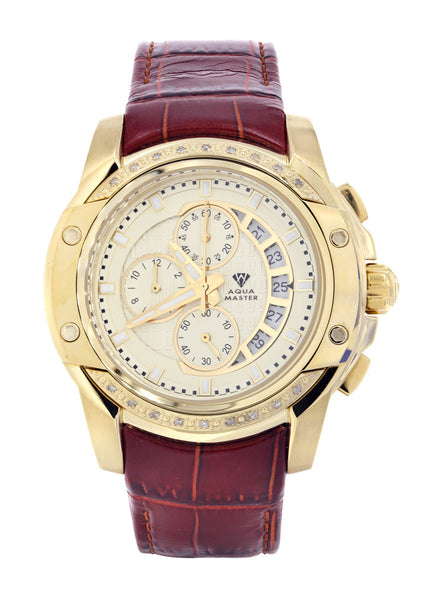 Mens Yellow Gold Tone Diamond Watch | Appx. 0.2 Carats