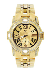 Mens Yellow Gold Tone Diamond Watch | Appx. 1.76 Carats