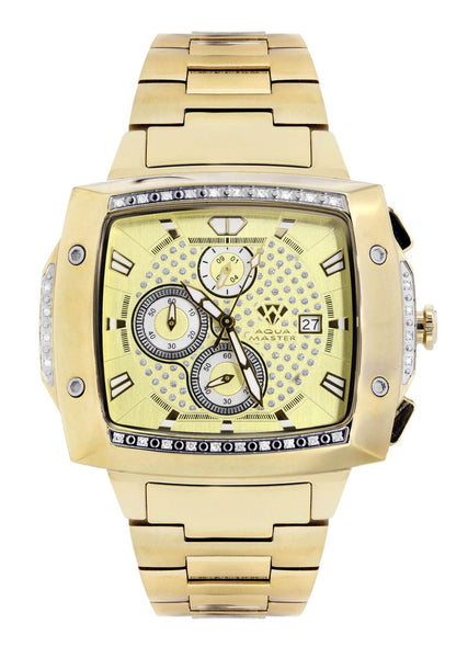 Mens Yellow Gold Tone Diamond Watch | Appx. 0.28 Carats