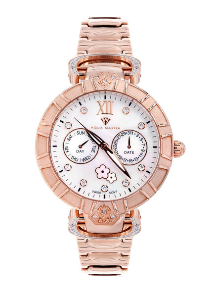 Womens Rose Gold Tone Diamond Watch | Appx 0.15 Carats