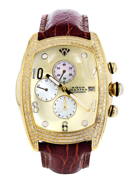 Mens Yellow Gold Tone Diamond Watch | Appx. 2.5 Carats