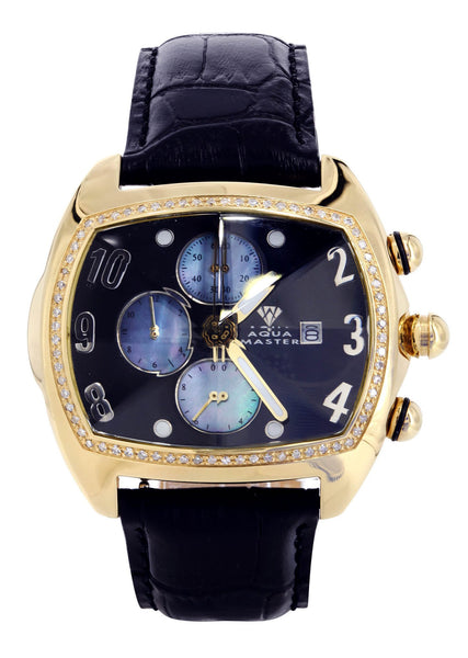 Mens Yellow Gold Tone Diamond Watch | Appx. 1.01 Carats