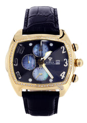 Mens Yellow Gold Tone Diamond Watch | Appx. 1.01 Carats MENS GOLD WATCH FROST