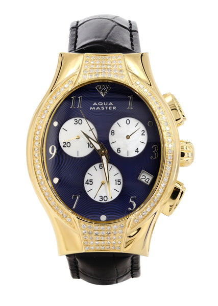 Mens Yellow Gold Tone Diamond Watch | Appx. 1.5 Carats