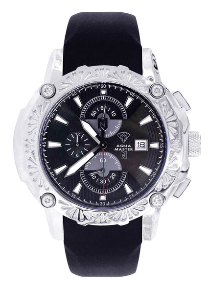 Mens White Gold Tone Diamond Watch | Appx. 0.40 Carats