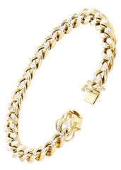 Hollow Mens Pave Miami Cuban Link Bracelet 10K Yellow Gold