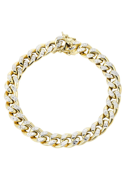Hollow Womens Diamond Cut Miami Cuban Link Bracelet 10K Gold