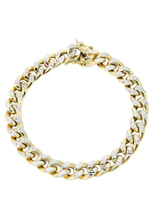 Hollow Mens Diamond Cut Miami Cuban Link Bracelet 10K Gold Men's Gold Bracelets FROST NYC