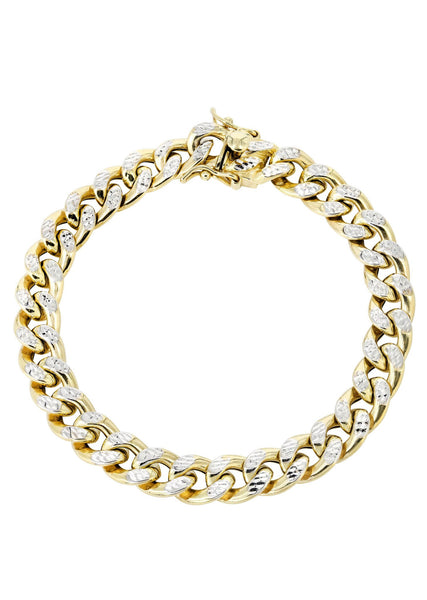 Hollow Mens Diamond Cut Miami Cuban Link Bracelet 10K Gold