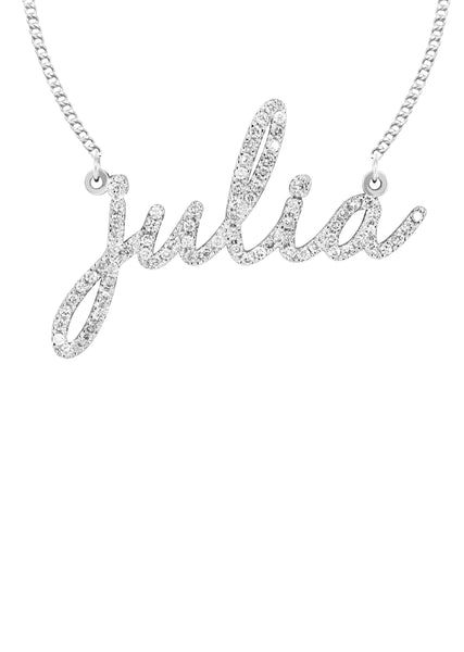 14K White Gold Ladies Full Diamond Script Name Necklace | Appx. 1.25 Carat