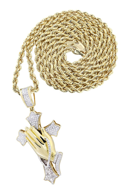 10K Yellow Gold Cross Pendant & Rope Chain | 0.67 Carats