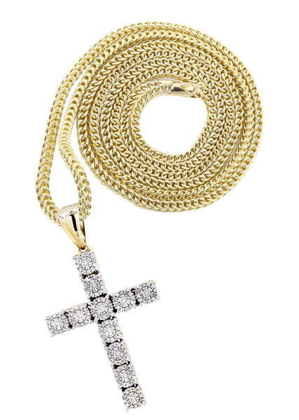10K Yellow Gold Cross Pendant & Franco Chain | 0.31 Carats