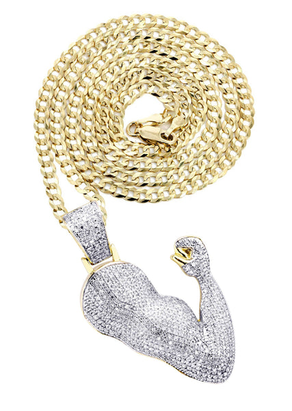 10K Yellow Gold Muscle Arm Pendant & Cuban Chain | 0.97 Carats