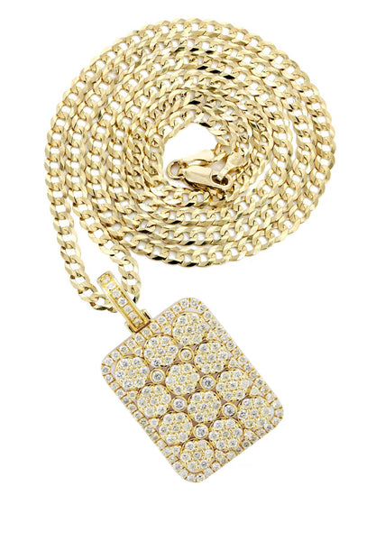 10K Yellow Gold Dog Tag Pendant & Cuban Chain | 3.06 Carats