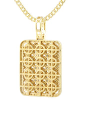 10K Yellow Gold Dog Tag Pendant & Cuban Chain | 3.06 Carats diamond combo FrostNYC