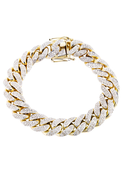 Mens Iced Out Diamond Miami Cuban Link Bracelet 14K Yellow Gold