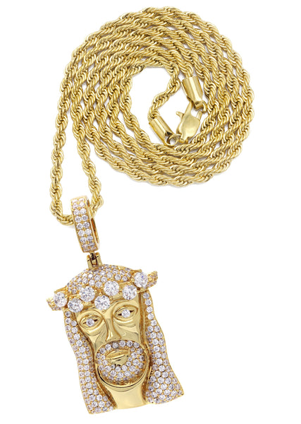 Gold Plated Rope Chain & Jesus Head Pendant | Appx. 26.7 Grams