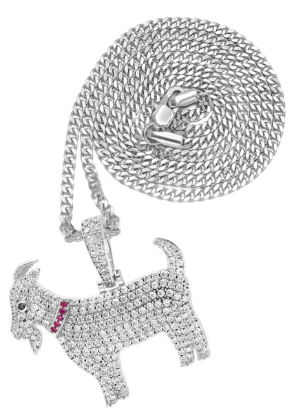 White Gold Plated Cuban Link Chain & Goat Pendant | Appx. 14.5 Grams