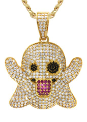 Gold Plated Cuban Link Chain & Ghost Emoji Pendant | Appx. 18.2 Grams