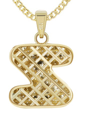 "10K Yellow Gold Franco Chain & Bubble Letter ""Z"" Cz Pendant 