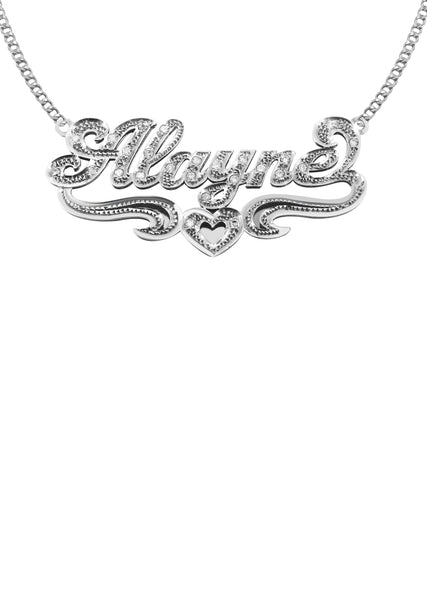 14K Ladies White Gold with Diamonds Name Plate Necklace | Appx. 9.7 Grams