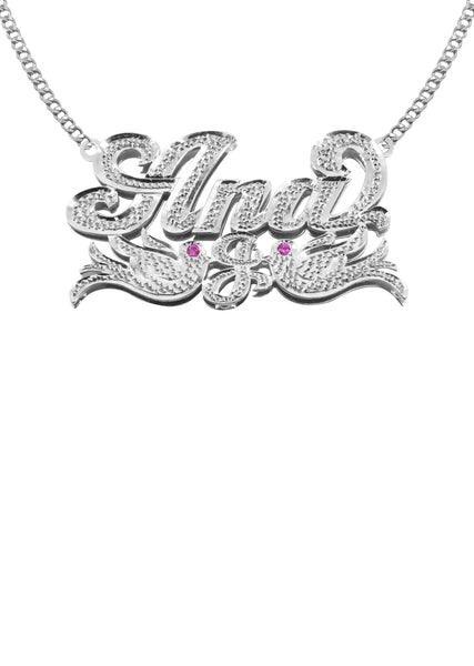 14K Ladies White Gold Diamond Cut Name Plate Necklace | Appx. 11.4 Grams