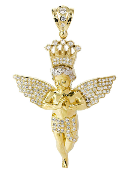 Big Angel & Cz 10K Yellow Gold Pendant.  |  33.4 Grams